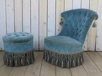 Antique French Napoleon III Armchair & Stool (6 of 10)