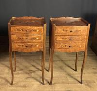 Pair of French Inlaid Tulipwood Bedside Tables (2 of 11)