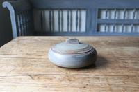 Scandinavian / Swedish 'Folk Art' original paint grey / green and red wooden sliding-lid bowl 1843