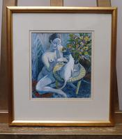 Watercolour Nude with Cat Listed Artist James Gorman (9 of 14)