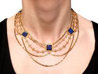 5.55ct Lapis Lazuli & 18ct Yellow Gold Necklace - Antique Victorian c.1870 (11 of 12)