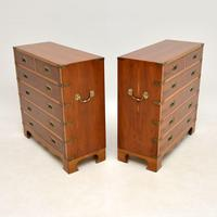 Pair of Yew Wood Military Campaign Style Chests (12 of 14)