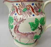 Attractive Pink Lustre Creamware Jug With Deer c.1820 (7 of 7)