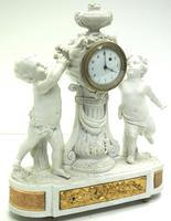 French Empire Figural Mantel Clock – Bisque Porcelain Cherub Verge Mantle Clock c.1800 (3 of 13)