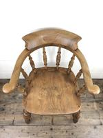 19th Century Beech and Elm Smoker's Bow Chair (6 of 12)