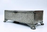Antique Arts & Crafts Art Deco Hammered Pewter Cigarette Box (4 of 9)
