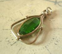 Antique Pocket Watch Chain Fob 1900 Art Nouveau Silver Chrome & Vivid Green Glass Fob (7 of 8)