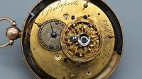 Rare 18th Century French 18k Gold Turquoise & Ruby Pocket Watch (8 of 10)