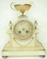 Wonderful French 8-Day Mantel Clock Alabaster Clock with Ormolu Mounts Striking A Bell (10 of 12)