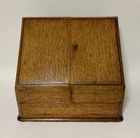 Antique Victorian Oak Desktop Stationery Cabinet