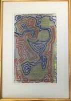 Original watercolour 'Interplanetary world systems' by Ken Walch 1928-2017. Signed and dated 1969. Framed