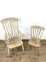 Set of Four Slat Back Antique Kitchen Chairs (3 of 10)