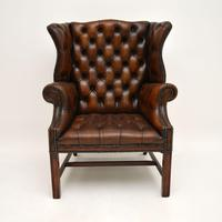 Antique Leather  Wingback Armchair (2 of 9)
