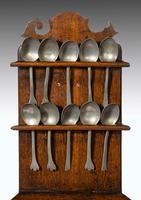 George III Period Oak & Pewter Spoon Rack (8 of 8)