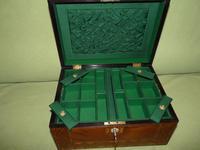 Large Figured Walnut Inlaid Jewellery Box + Tray c.1875 (6 of 12)