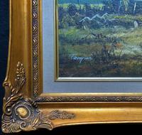 Original 1960s Vintage Antique Country Equestrian Farming Landscape Oil Painting (9 of 11)
