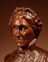 Beautiful Expressive Carved Wooden Bust of Woman, Signed B. Tuerlinckx = Boudewijn Tuerlinckx (8 of 11)