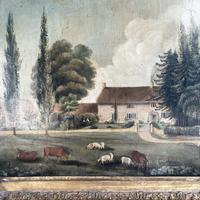 Antique Landscape Oil Painting of Farmhouse with Cows & Sheep (5 of 10)