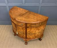 Burr Walnut Queen Anne Style Demi Lune Commode (11 of 11)