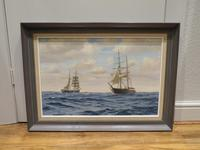 20th Century Oil on Board Mary Celeste Intercepted by the Dei Gratia by Roger Fisher (5 of 5)