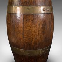 Antique Coopered Barrel, English, Oak, Brass, Stick Stand, Late Victorian c.1900 (9 of 10)