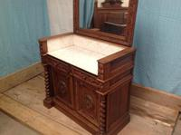 19th Century French Solid Oak Gothic Oak Revival Marble Top Washstand (7 of 9)