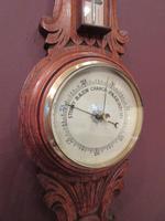 Small  Antique Polished Oak Decorative Banjo Barometer (6 of 8)