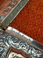 Antique Sterling Silver Hallmarked Vesta 9ct Gold Cartouche 1911, Smith & Bartlam (5 of 9)