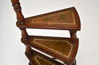 Antique Mahogany & Leather Spiral Library Steps (5 of 10)