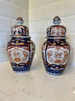 Quality Pair of Antique Imari Lidded Vases
