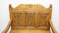 Good Quality  Reproduction  Carved Oak Settle or Hall Seat (4 of 17)