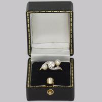 Antique Pearl & Old Cut Diamond Twist Ring 18ct Gold Edwardian Trilogy Ring  c.1910 (10 of 14)