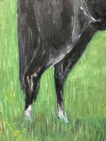 Impressionist Oil Painting Prized Thoroughbred Equestrian Black Horse Portrait (12 of 13)