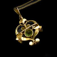 Antique Peridot and Pearl Lavalier 15ct 15K Gold Drop Pendant Necklace and Brooch (4 of 11)