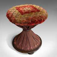 Antique Upholstered Stool, English, Walnut, Footstool, Tabouret, Regency, 1820 (3 of 9)