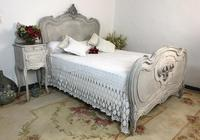 Antique French Double Bed Frame & Pot Cupboard Painted in Weathered Grey (12 of 12)