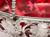 Victorian Silver Plated Basket with the Original Cranberry Glass Liner (5 of 6)