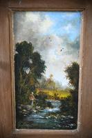 Rustic Pine Corner Cupboard Handpainted Fishing Scene (5 of 12)