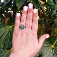 Vintage 9ct Yellow Gold Opal Triplet Ring in the Art Nouveau Style (2 of 6)