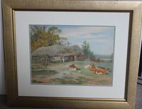 Antique Original Watercolour - Cows Resting - Charles James Adams c.1900 (2 of 9)