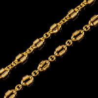 Antique Victorian Chain Necklace Silver 18ct Gold Gilt c.1900 (5 of 6)