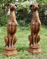 Pair of Large Outdoor Weathered Cast Iron Greyhound Dogs (8 of 9)