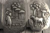 Antique Burmese Silver Belt Buckle, High Relief Repousse, Figures and a Cow c.1880 (4 of 8)