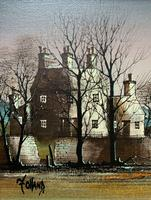 Ronald Folland (1932-1999) Original Signed Winter Village Landscape Oil Painting (3 of 12)