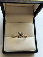 18ct Gold Platinum Art Deco Sapphire & Diamond Ring Size M.5 (12 of 16)