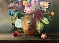 Striking Early 1900s Antique Large Floral Display Oil on Canvas Painting (4 of 12)