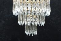 Italian Art Deco Three Tier Crystal Glass Chandelier 1930s (5 of 6)
