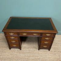 Stunning Victorian Maple & Co Antique Oak Pedestal Desk (3 of 7)