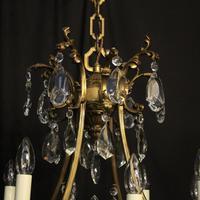 Italian Gilded Bronze & Crystal 8 Light Chandelier (9 of 10)