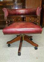 Antique Design Mahogany Red Leather Captains Chair (2 of 5)